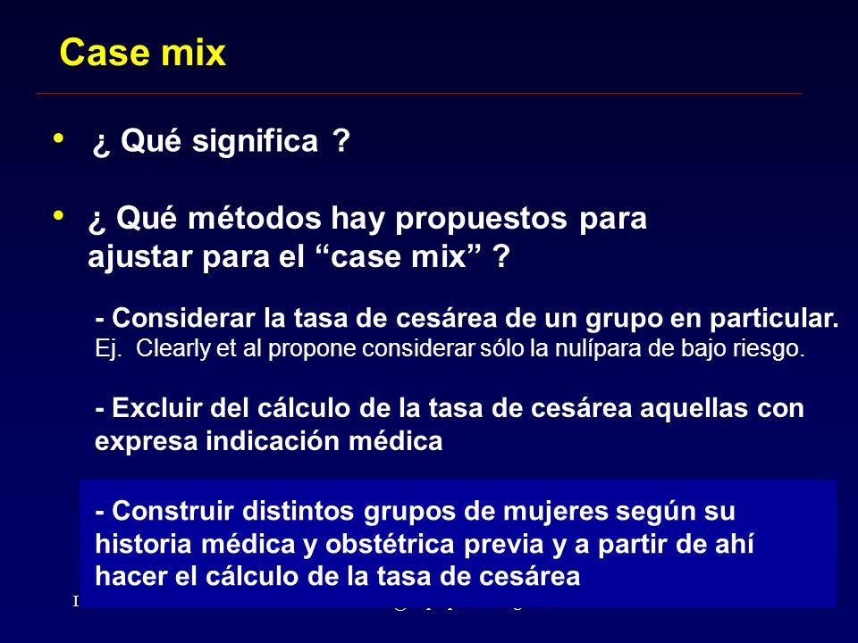Dr. Althabealthabef@clap.ops-oms.org Case mix ¿ Qué significa ? ¿ Qué métodos hay propuestos para ajustar para el case mix ? - Considerar la tasa de c