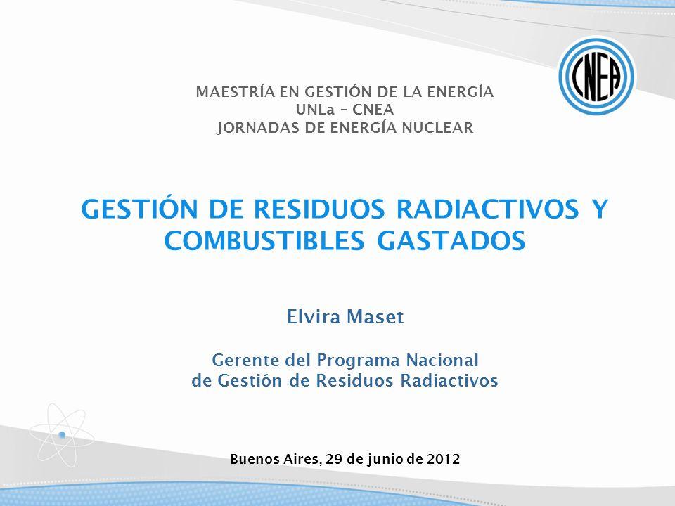 MAESTRÍA EN GESTIÓN DE LA ENERGÍA UNLa – CNEA JORNADAS DE ENERGÍA NUCLEAR GESTIÓN DE RESIDUOS RADIACTIVOS Y COMBUSTIBLES GASTADOS Elvira Maset Gerente