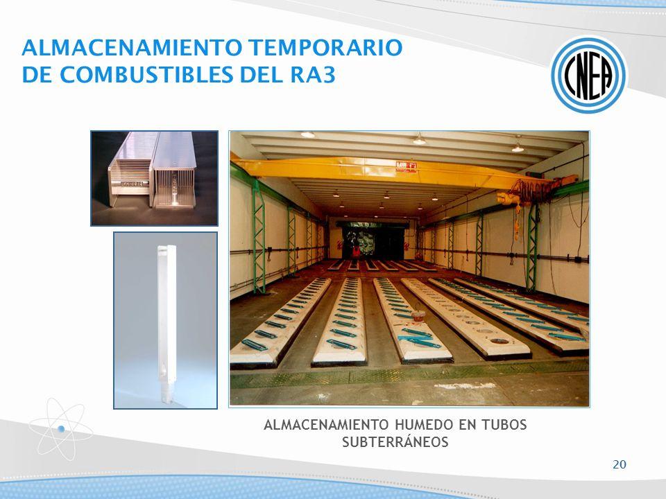 ALMACENAMIENTO HUMEDO EN TUBOS SUBTERRÁNEOS ALMACENAMIENTO TEMPORARIO DE COMBUSTIBLES DEL RA3 20