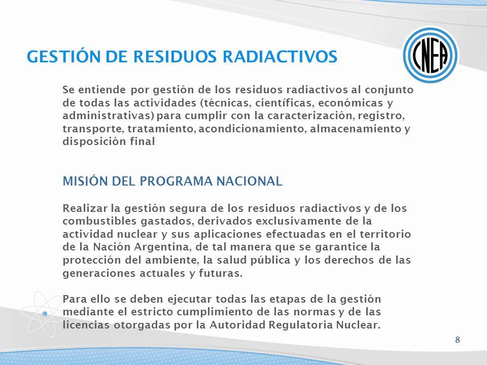 Se entiende por gestión de los residuos radiactivos al conjunto de todas las actividades (técnicas, científicas, económicas y administrativas) para cu
