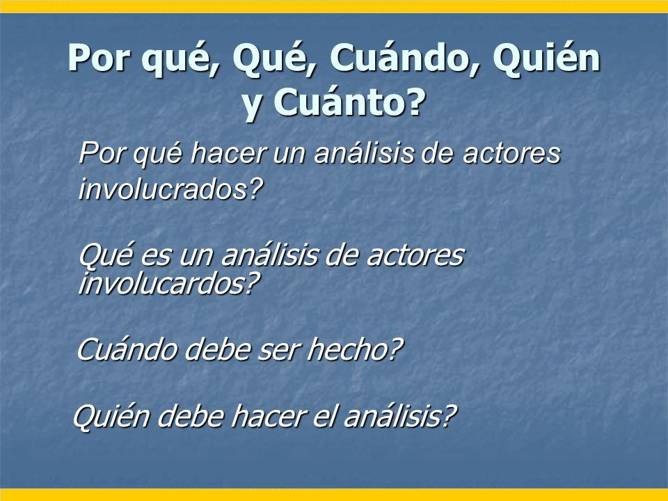Por qué, Qué, Cuándo, Quién y Cuánto? Quién debe hacer el análisis? Quién debe hacer el análisis? Por qué hacer un análisis de actores involucrados? Q