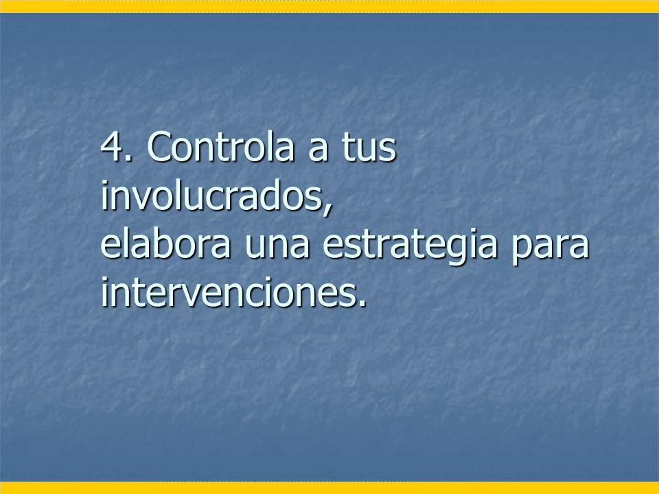 4. Controla a tus involucrados, elabora una estrategia para intervenciones.