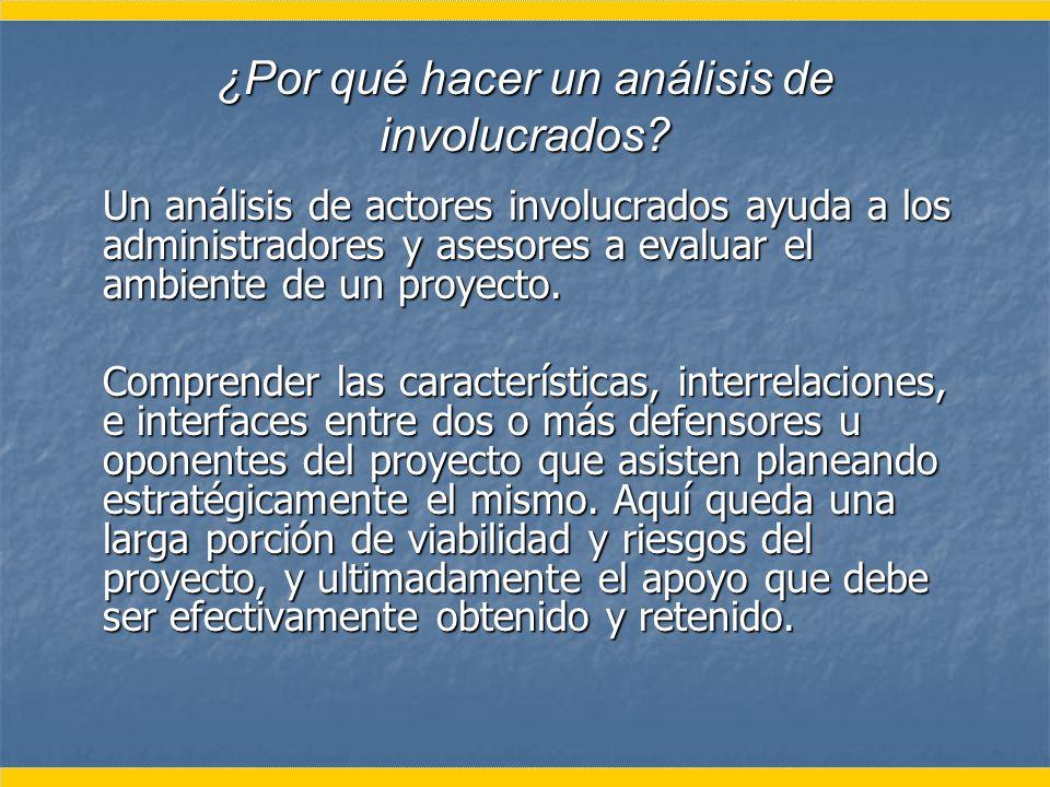 ¿Por qué hacer un análisis de involucrados? Un análisis de actores involucrados ayuda a los administradores y asesores a evaluar el ambiente de un pro