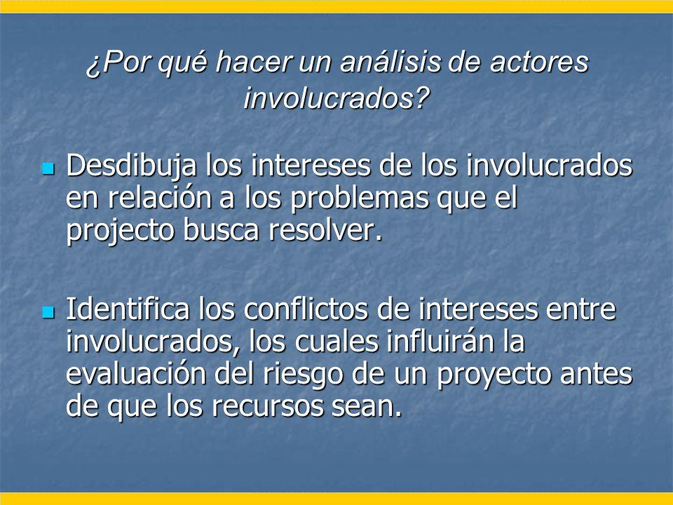 ¿Por qué hacer un análisis de actores involucrados? Desdibuja los intereses de los involucrados en relación a los problemas que el projecto busca reso