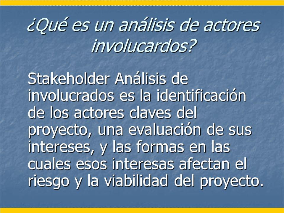 ¿Qué es un análisis de actores involucardos? Stakeholder Análisis de involucrados es la identificación de los actores claves del proyecto, una evaluac