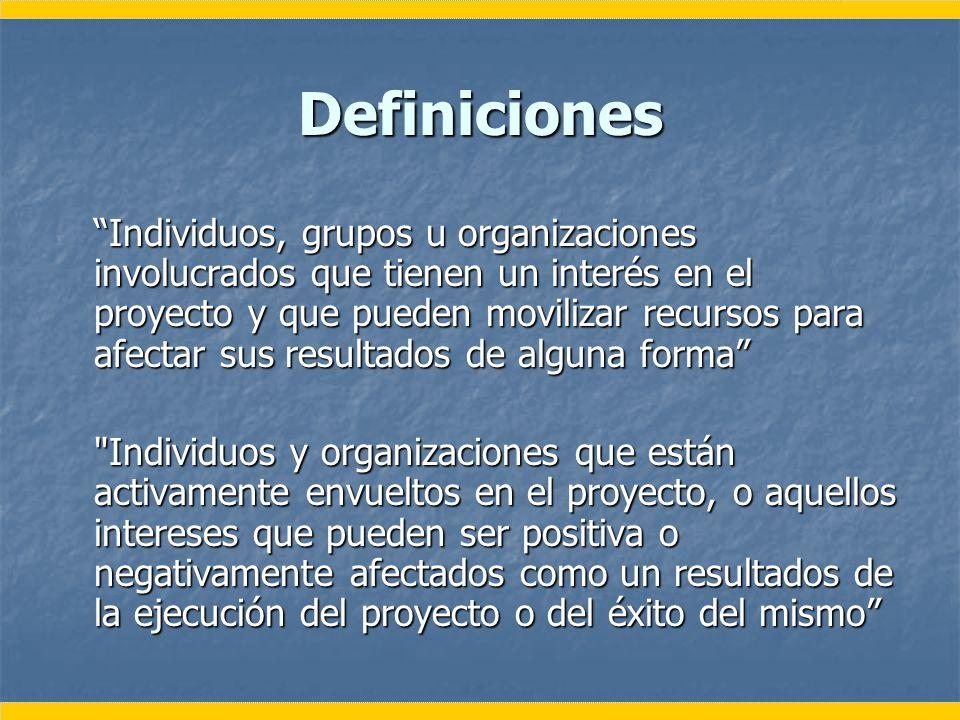 Definiciones Individuos, grupos u organizaciones involucrados que tienen un interés en el proyecto y que pueden movilizar recursos para afectar sus re