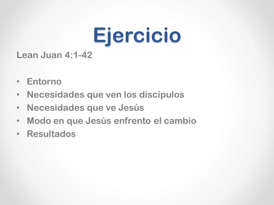 Ejercicio Lean Juan 4:1-42 Entorno Necesidades que ven los discípulos Necesidades que ve Jesús Modo en que Jesús enfrento el cambio Resultados