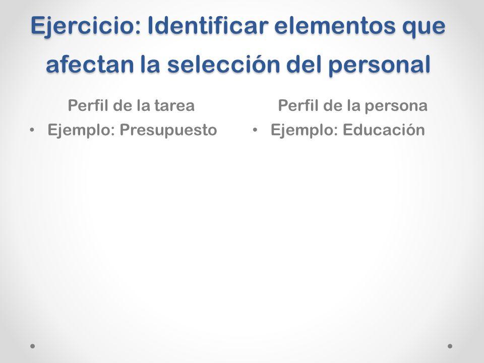 Ejercicio: Identificar elementos que afectan la selección del personal Perfil de la tareaPerfil de la persona Ejemplo: Presupuesto Ejemplo: Educación
