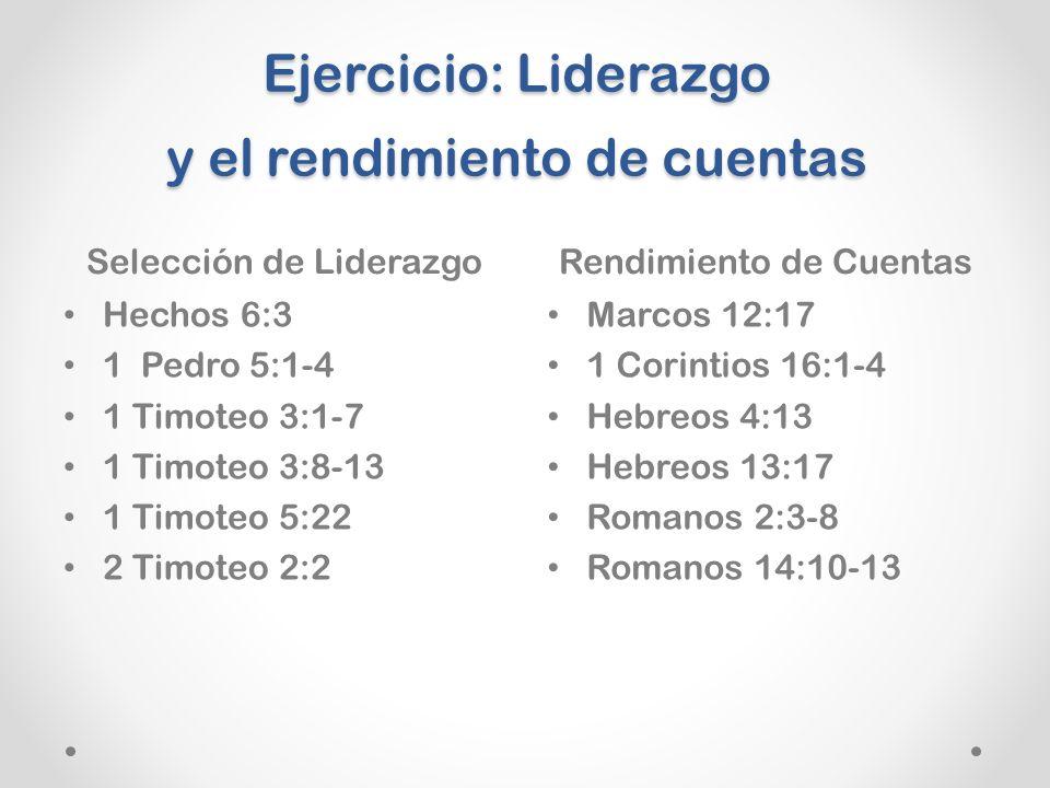 Ejercicio: Liderazgo y el rendimiento de cuentas Selección de LiderazgoRendimiento de Cuentas Hechos 6:3 1 Pedro 5:1-4 1 Timoteo 3:1-7 1 Timoteo 3:8-13 1 Timoteo 5:22 2 Timoteo 2:2 Marcos 12:17 1 Corintios 16:1-4 Hebreos 4:13 Hebreos 13:17 Romanos 2:3-8 Romanos 14:10-13