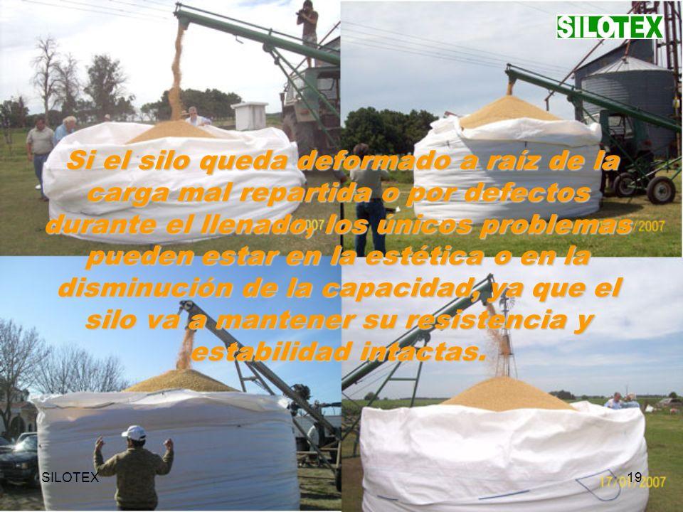 SILOTEX19 Si el silo queda deformado a raíz de la carga mal repartida o por defectos durante el llenado, los únicos problemas pueden estar en la estética o en la disminución de la capacidad, ya que el silo va a mantener su resistencia y estabilidad intactas.