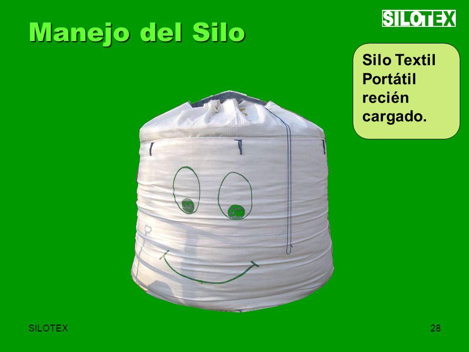 SILOTEX28 Manejo del Silo Silo Textil Portátil recién cargado.