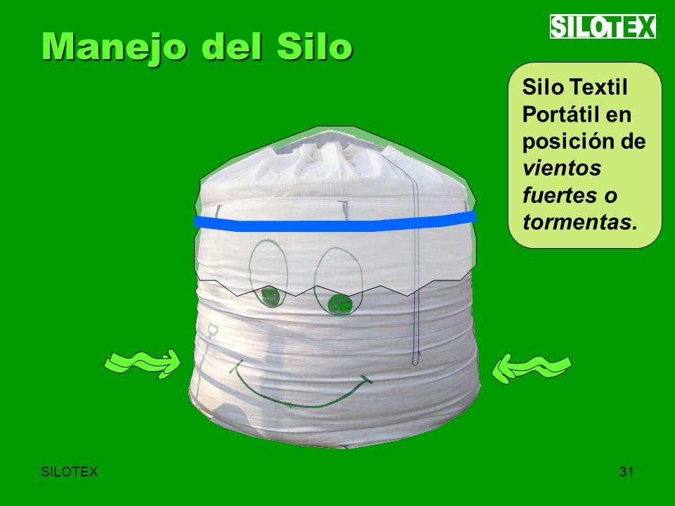 SILOTEX31 Manejo del Silo Silo Textil Portátil en posición de vientos fuertes o tormentas.
