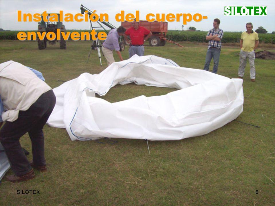 SILOTEX29 Manejo del Silo Silo Textil Portátil en posición de secado natural (efecto chimenea).