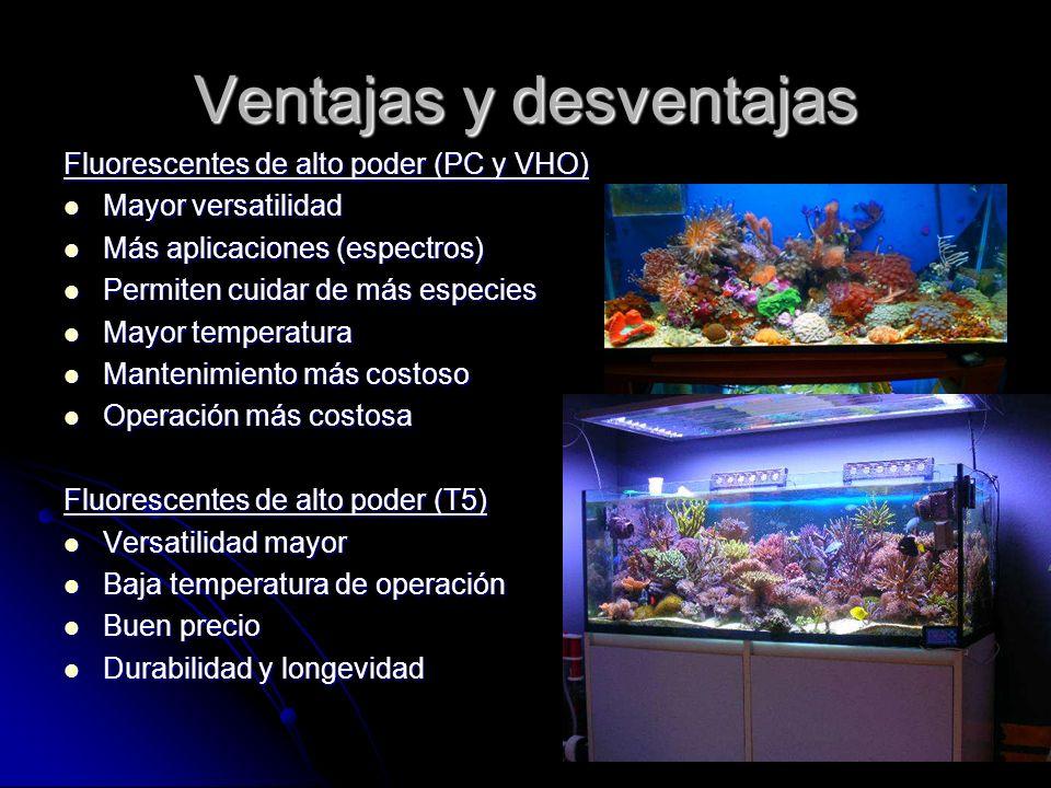 Ventajas y desventajas Fluorescentes de alto poder (PC y VHO) Mayor versatilidad Mayor versatilidad Más aplicaciones (espectros) Más aplicaciones (esp