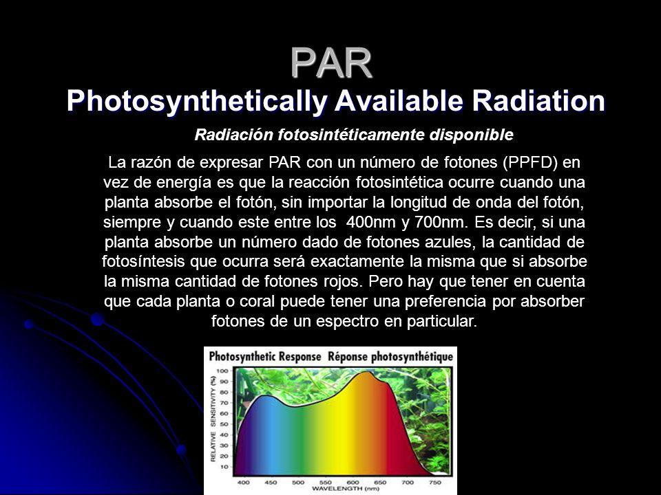 PAR Photosynthetically Available Radiation La razón de expresar PAR con un número de fotones (PPFD) en vez de energía es que la reacción fotosintética