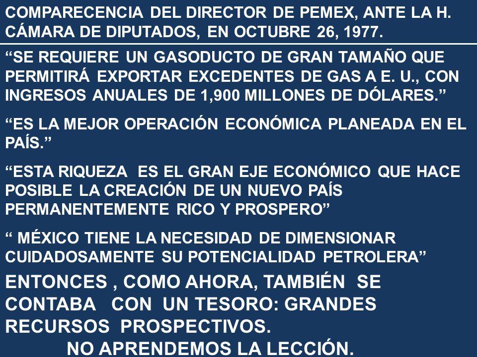 COMPARECENCIA DEL DIRECTOR DE PEMEX, ANTE LA H. CÁMARA DE DIPUTADOS, EN OCTUBRE 26, 1977. SE REQUIERE UN GASODUCTO DE GRAN TAMAÑO QUE PERMITIRÁ EXPORT