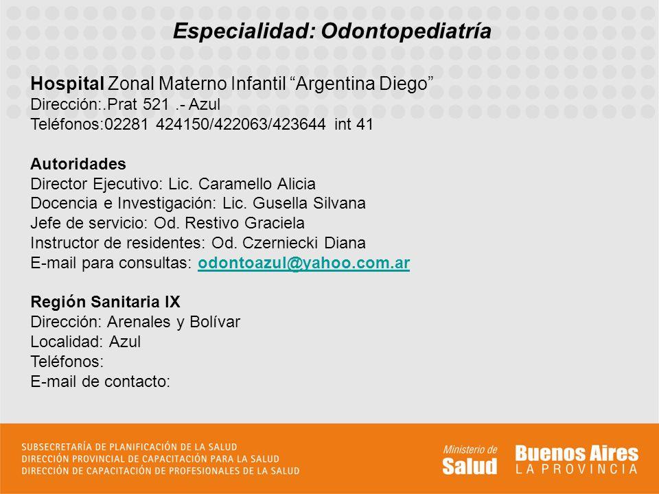 Especialidad: Odontopediatría Hospital Zonal Materno Infantil Argentina Diego Dirección:.Prat 521.- Azul Teléfonos:02281 424150/422063/423644 int 41 A
