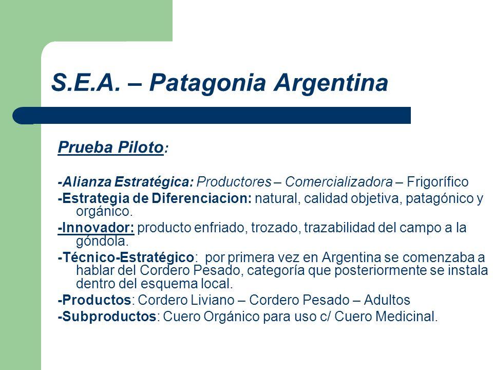 S.E.A. – Patagonia Argentina Prueba Piloto : -Alianza Estratégica: Productores – Comercializadora – Frigorífico -Estrategia de Diferenciacion: natural