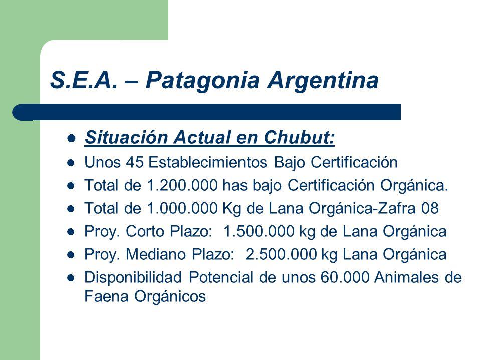 S.E.A. – Patagonia Argentina Situación Actual en Chubut: Unos 45 Establecimientos Bajo Certificación Total de 1.200.000 has bajo Certificación Orgánic
