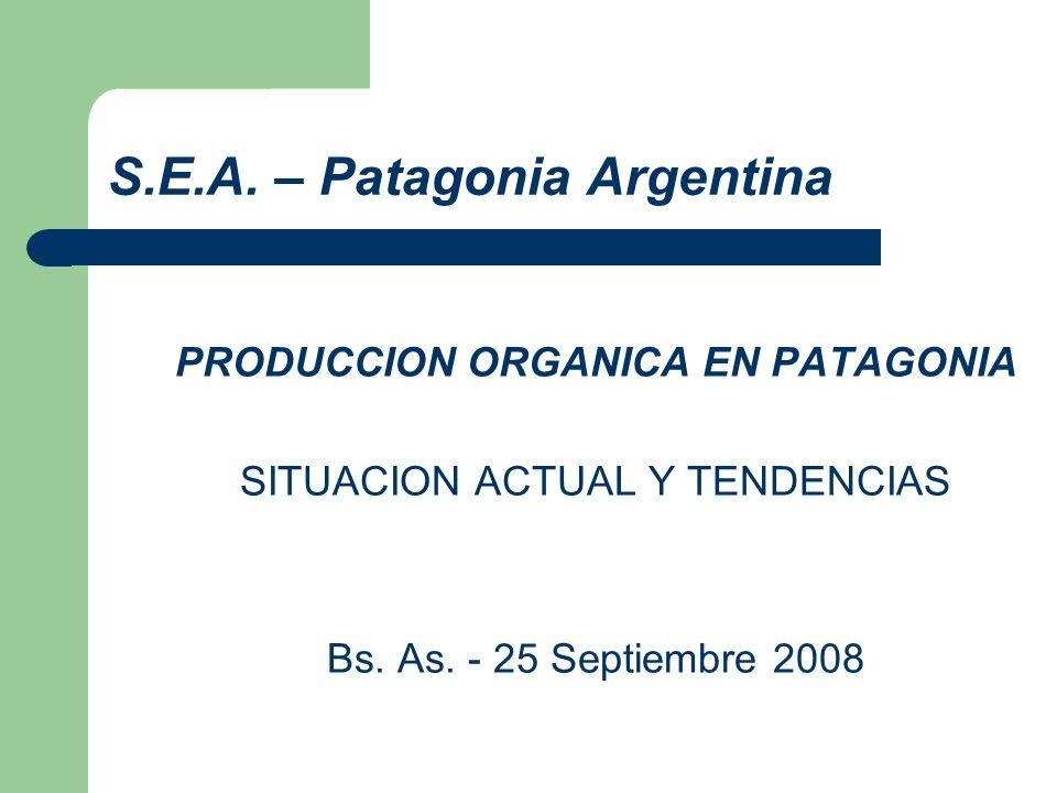 S.E.A. – Patagonia Argentina PRODUCCION ORGANICA EN PATAGONIA SITUACION ACTUAL Y TENDENCIAS Bs. As. - 25 Septiembre 2008