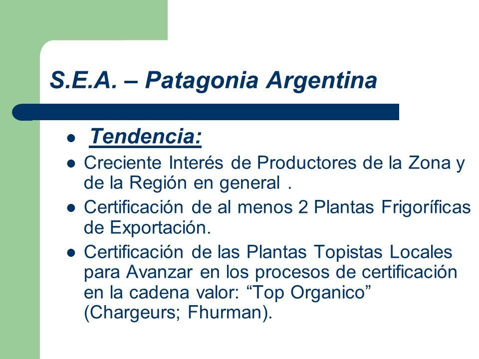 S.E.A. – Patagonia Argentina Tendencia: Creciente Interés de Productores de la Zona y de la Región en general. Certificación de al menos 2 Plantas Fri