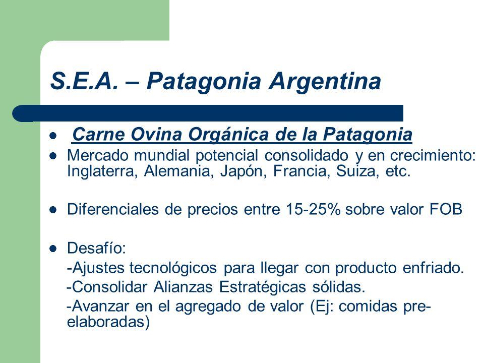 S.E.A. – Patagonia Argentina Carne Ovina Orgánica de la Patagonia Mercado mundial potencial consolidado y en crecimiento: Inglaterra, Alemania, Japón,