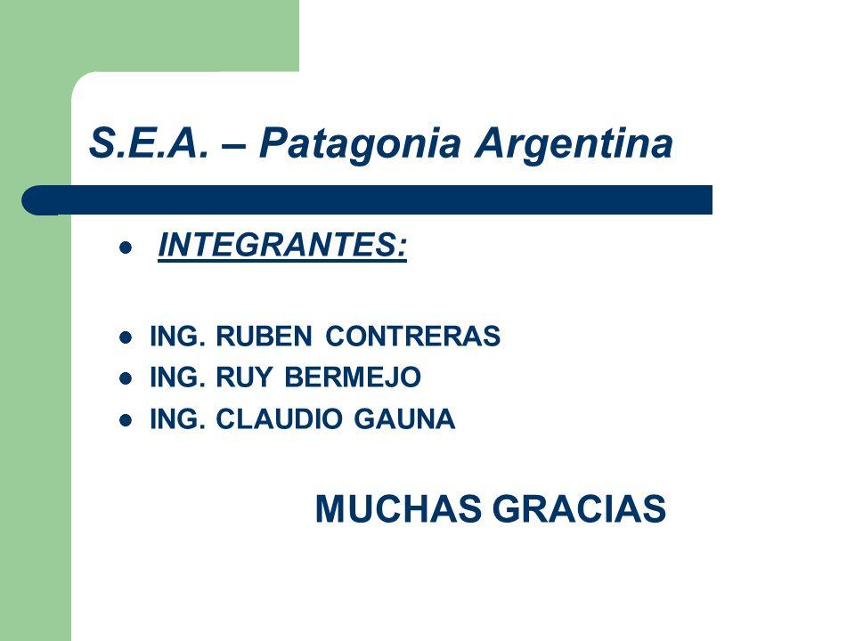 S.E.A. – Patagonia Argentina INTEGRANTES: ING. RUBEN CONTRERAS ING. RUY BERMEJO ING. CLAUDIO GAUNA MUCHAS GRACIAS