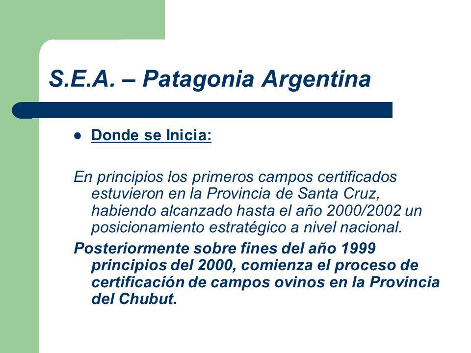 S.E.A. – Patagonia Argentina Donde se Inicia: En principios los primeros campos certificados estuvieron en la Provincia de Santa Cruz, habiendo alcanz