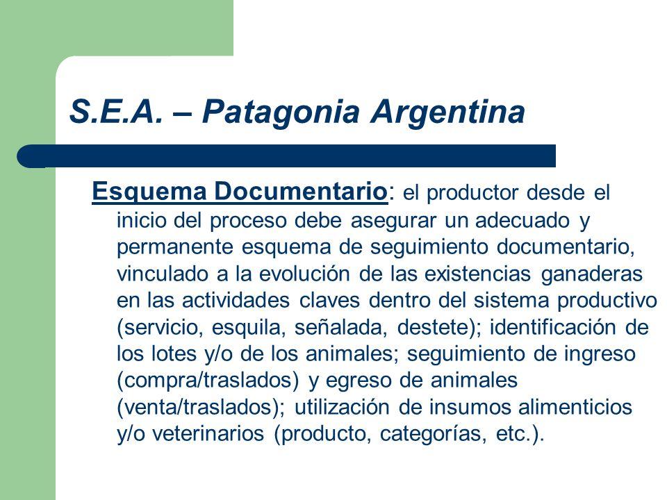 S.E.A. – Patagonia Argentina Esquema Documentario: el productor desde el inicio del proceso debe asegurar un adecuado y permanente esquema de seguimie