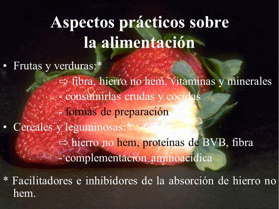 Aspectos prácticos sobre la alimentación Frutas y verduras:* fibra, hierro no hem, vitaminas y minerales - consumirlas crudas y cocidas - formas de pr