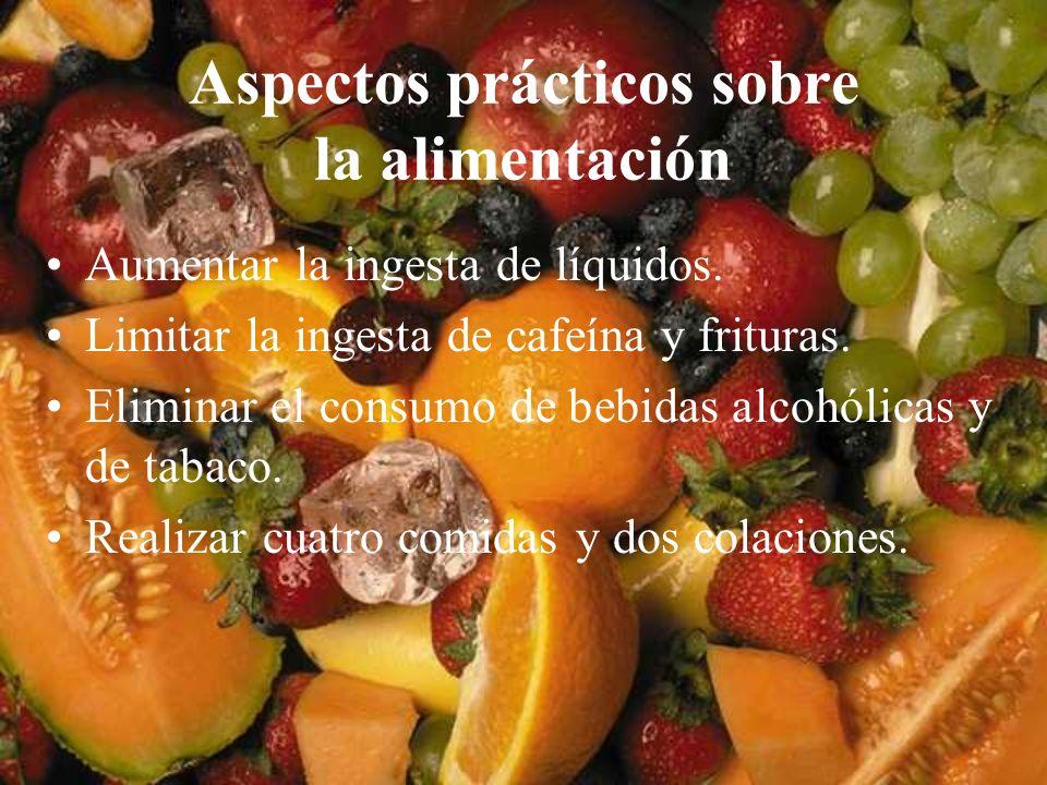 Aspectos prácticos sobre la alimentación Aumentar la ingesta de líquidos. Limitar la ingesta de cafeína y frituras. Eliminar el consumo de bebidas alc
