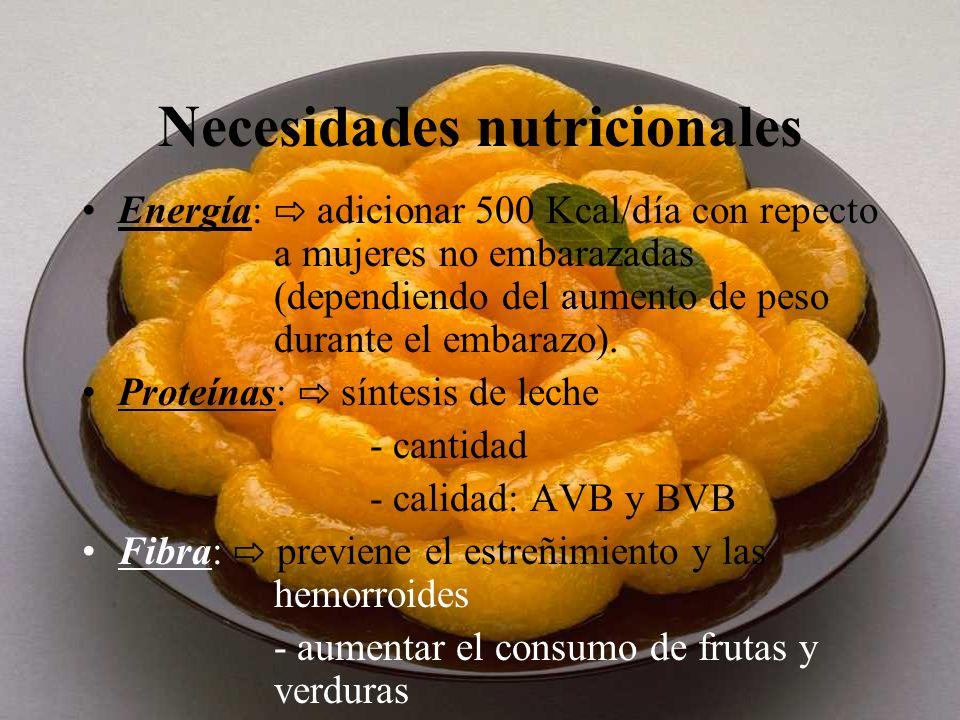 Necesidades nutricionales Energía: adicionar 500 Kcal/día con repecto a mujeres no embarazadas (dependiendo del aumento de peso durante el embarazo).