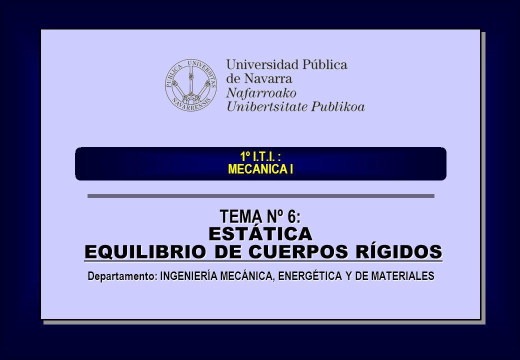 1º I.T.I. : MECANICA I Departamento: INGENIERÍA MECÁNICA, ENERGÉTICA Y DE MATERIALES TEMA Nº 6: ESTÁTICA EQUILIBRIO DE CUERPOS RÍGIDOS EQUILIBRIO DE C