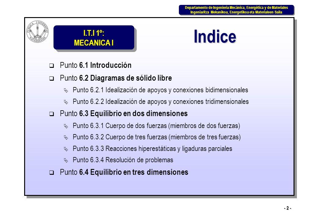 I.T.I 1º: MECANICA I Departamento de Ingeniería Mecánica, Energética y de Materiales Ingeniaritza Mekanikoa, Energetikoa eta Materialeen Saila Departamento de Ingeniería Mecánica, Energética y de Materiales Ingeniaritza Mekanikoa, Energetikoa eta Materialeen Saila - 33 - Ejemplo 2: Sus tres conexiones pueden evitar la rotación en torno a un punto cualquiera y la traslación del cuerpo en la dirección y pero no la traslación del cuerpo en la dirección x.