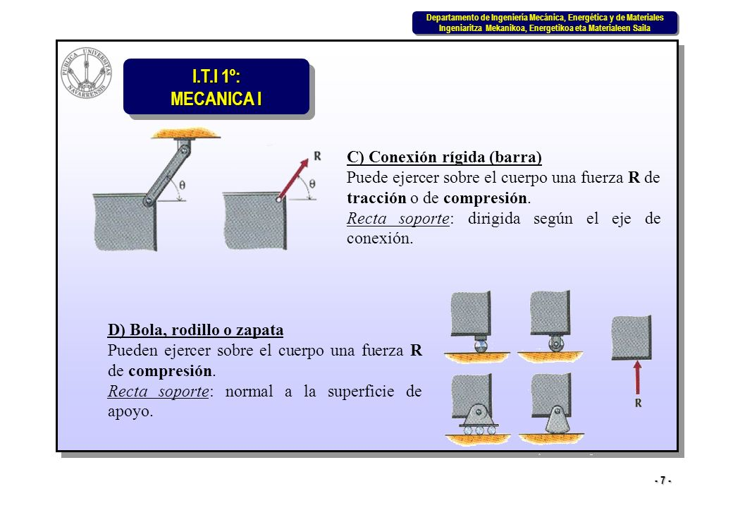 I.T.I 1º: MECANICA I Departamento de Ingeniería Mecánica, Energética y de Materiales Ingeniaritza Mekanikoa, Energetikoa eta Materialeen Saila Departamento de Ingeniería Mecánica, Energética y de Materiales Ingeniaritza Mekanikoa, Energetikoa eta Materialeen Saila - 48 - 6.4 Equilibrio en tres dimensiones (Continuación) Por tanto y como ya se ha dicho, un sistema genérico, tridimensional, de n fuerzas y n pares puede sustituirse por un sistema equivalente constituido por fuerzas concurrentes no coplanarias y un sistema de pares no coplanarios cuyas resultantes se pueden expresar así: La fuerza resultante R, junto con el par resultante C, constituyen la resultante del sistema genérico tridimensional de fuerzas.