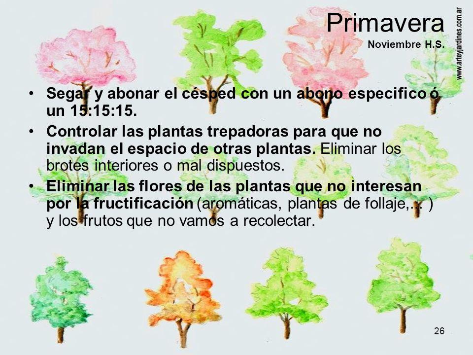 26 Primavera Noviembre H.S. Segar y abonar el césped con un abono especifico ó un 15:15:15. Controlar las plantas trepadoras para que no invadan el es