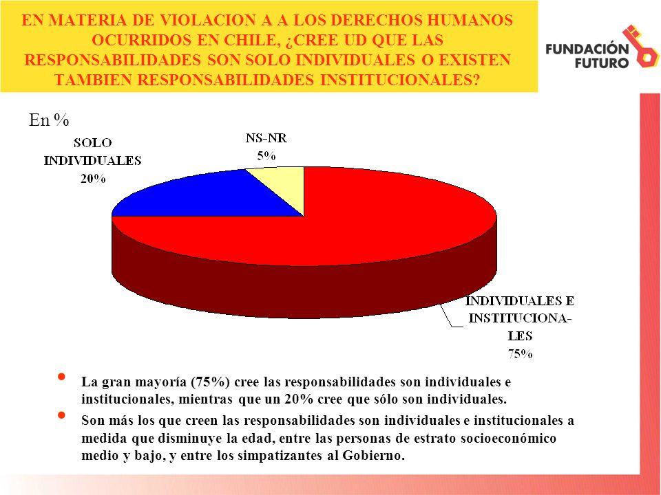 EN MATERIA DE VIOLACION A A LOS DERECHOS HUMANOS OCURRIDOS EN CHILE, ¿CREE UD QUE LAS RESPONSABILIDADES SON SOLO INDIVIDUALES O EXISTEN TAMBIEN RESPONSABILIDADES INSTITUCIONALES.