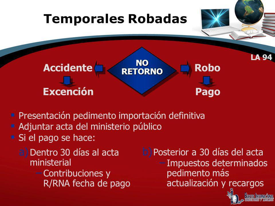 Presentación pedimento importación definitiva Adjuntar acta del ministerio público Si el pago se hace: NORETORNO Accidente Excención Robo Pago a) Dent