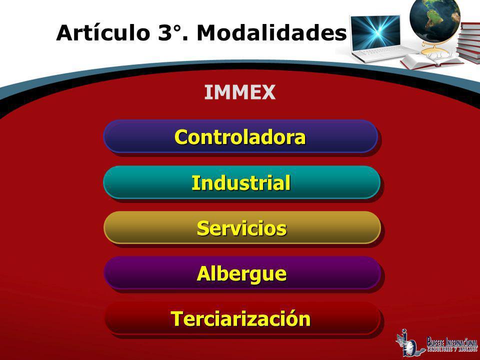 ControladoraControladora IndustrialIndustrial ServiciosServicios AlbergueAlbergue TerciarizaciónTerciarización IMMEX Artículo 3°. Modalidades