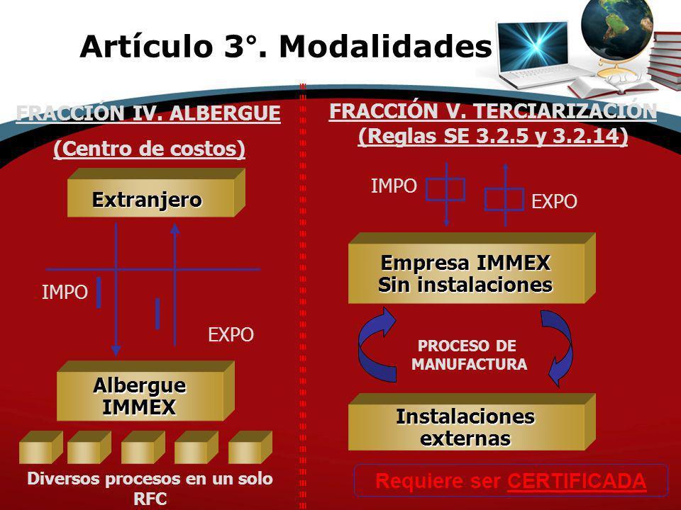 FRACCIÓN IV. ALBERGUE PROCESO DE MANUFACTURA IMPO FRACCIÓN V. TERCIARIZACIÓN (Reglas SE 3.2.5 y 3.2.14) Extranjero Empresa IMMEX Sin instalaciones EXP