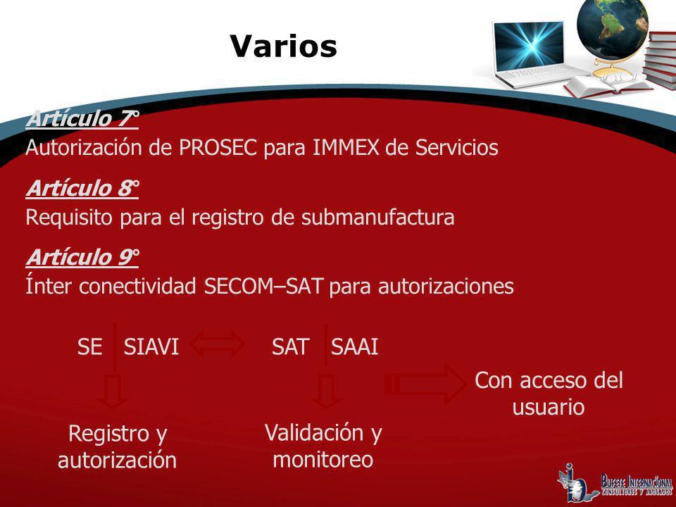 Artículo 7° Autorización de PROSEC para IMMEX de Servicios Artículo 8° Requisito para el registro de submanufactura Artículo 9° Ínter conectividad SEC