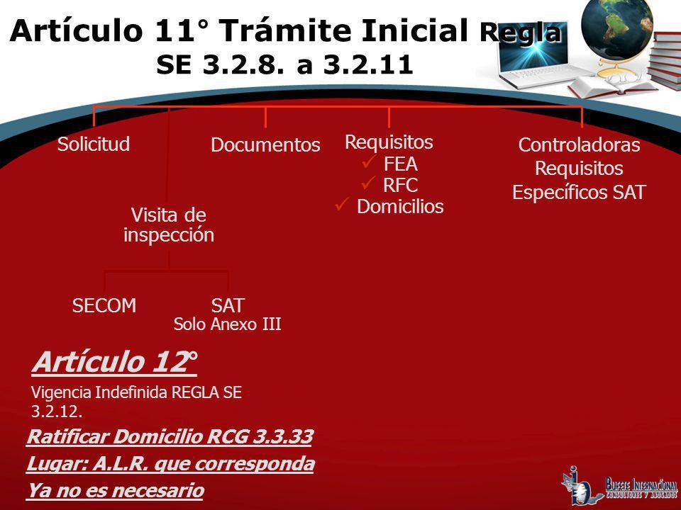 Solicitud Visita de inspección Documentos Requisitos FEA RFC Domicilios Controladoras Requisitos Específicos SAT SECOMSAT Solo Anexo III Artículo 12°