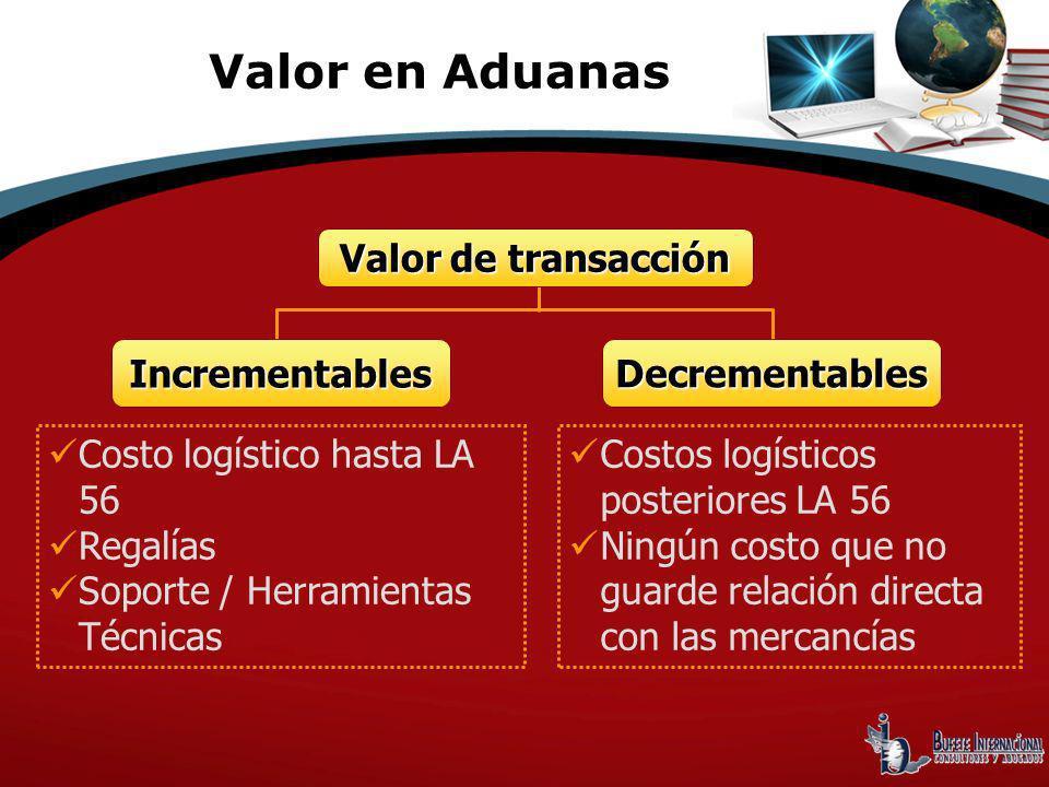 Valor de transacción Incrementables Decrementables Costo logístico hasta LA 56 Regalías Soporte / Herramientas Técnicas Costos logísticos posteriores