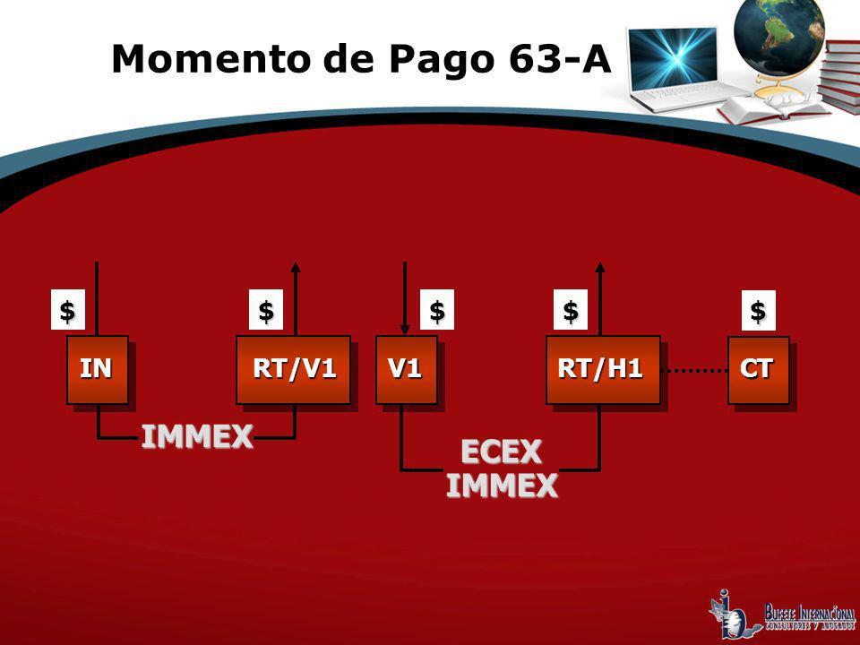 IMMEX Momento de Pago 63-A $ INRT/V1 $$ V1 ECEXIMMEX RT/H1 $ $ CT