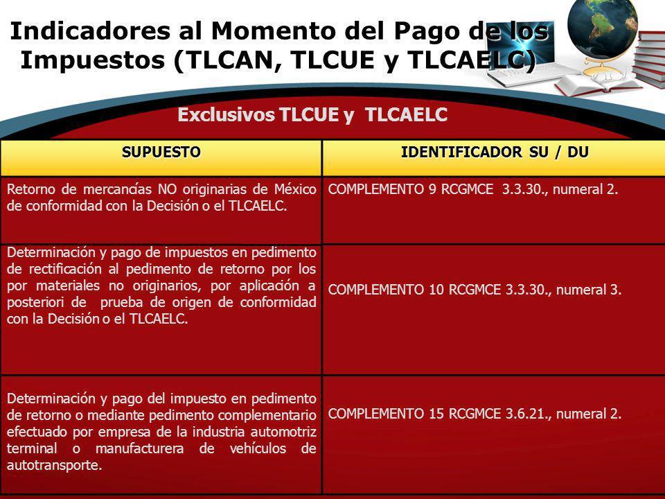 SUPUESTO IDENTIFICADOR SU / DU Retorno de mercancías NO originarias de México de conformidad con la Decisión o el TLCAELC. Determinación y pago de imp