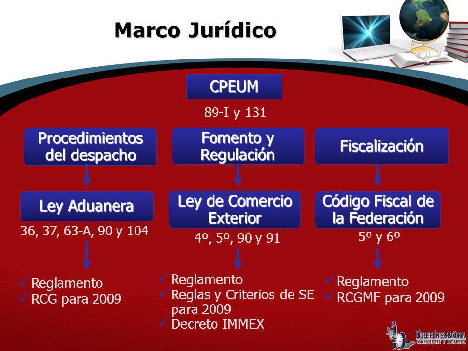 Reglamento RCG para 2009 Procedimientos del despacho CPEUM Código Fiscal de la Federación Ley de Comercio Exterior Ley Aduanera Fomento y Regulación F