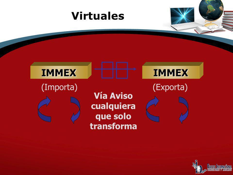 Vía Aviso cualquiera que solo transforma IMMEX (Importa) Virtuales IMMEX (Exporta)
