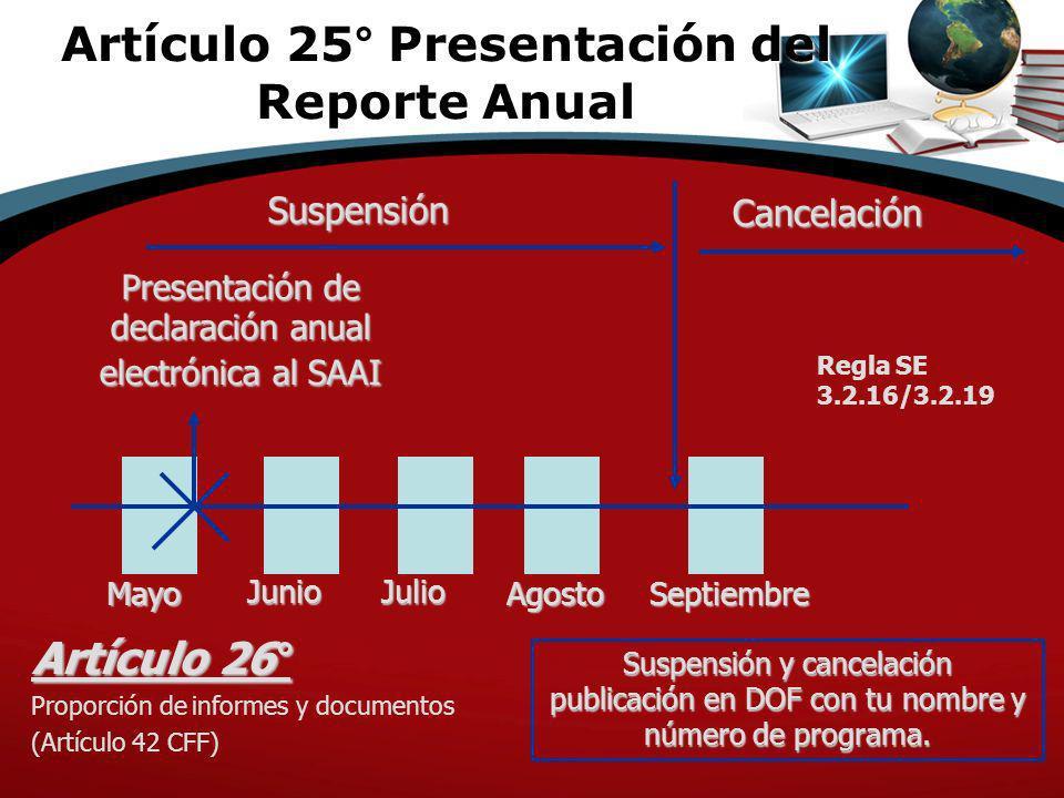 Suspensión Presentación de declaración anual electrónica al SAAI Suspensión y cancelación publicación en DOF con tu nombre y número de programa. Mayo