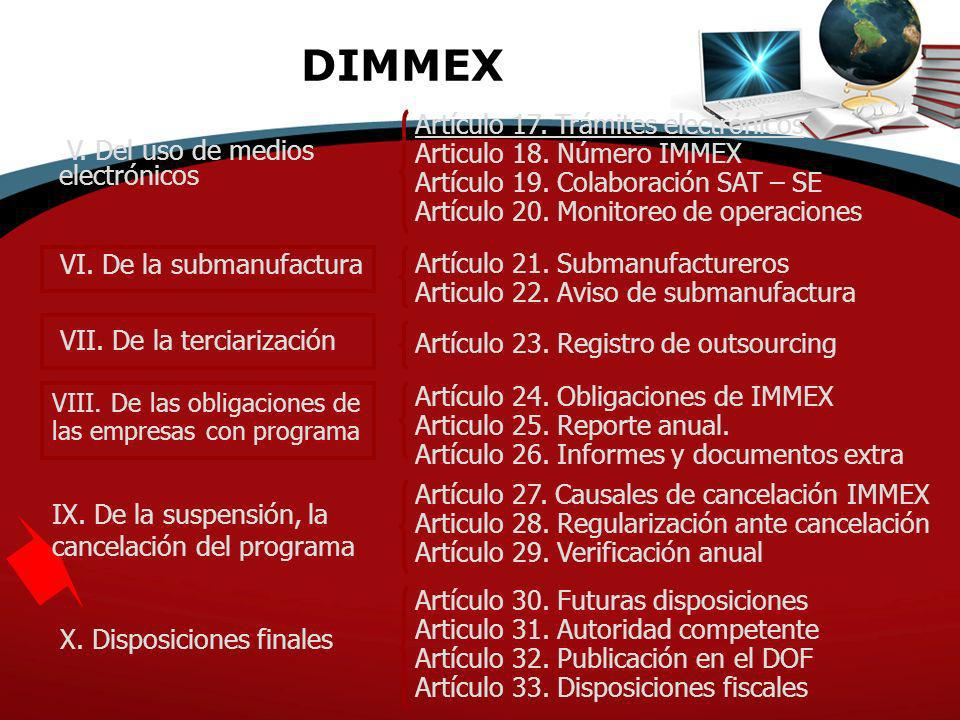 DIMMEX V. Del uso de medios electrónicos VI. De la submanufactura VII. De la terciarización VIII. De las obligaciones de las empresas con programa IX.