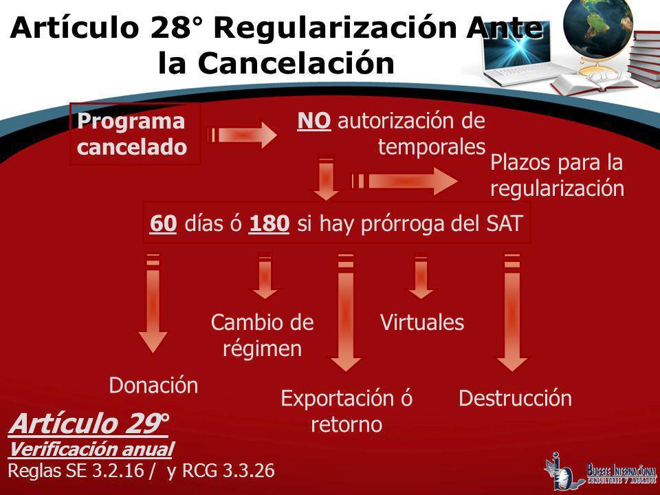 Programa cancelado NO autorización de temporales 60 días ó 180 si hay prórroga del SAT Cambio de régimen Exportación ó retorno Virtuales Destrucción P